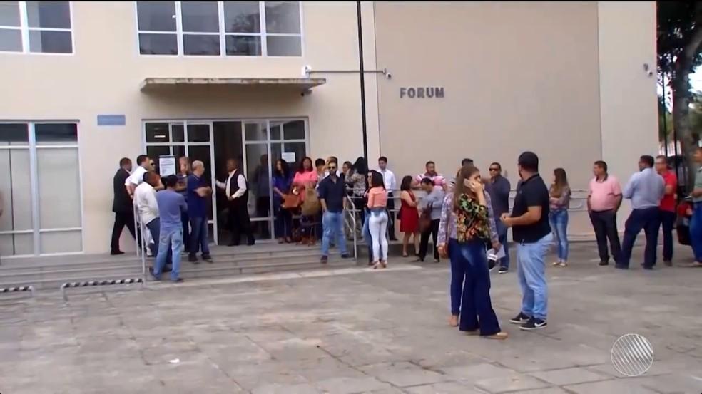 Julgamento ocorreu no Fórum Albiani, em Eunápolis (Foto: Reprodução/TV Santa Cruz)