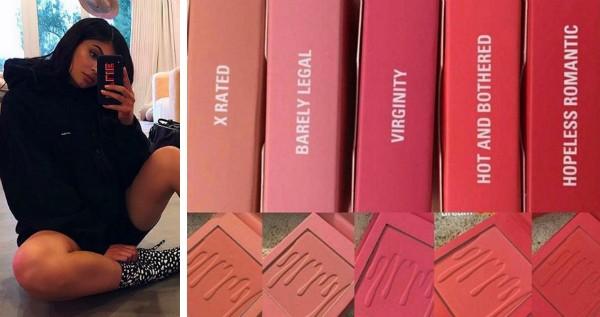 A socialite Kylie Jenner e os produtos com nomes polêmicos de sua linha de maquiagem (Foto: Instagram)