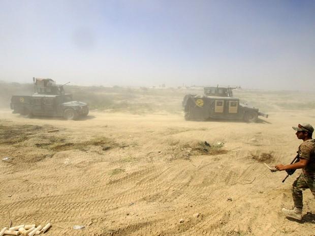 Forças de segurança registraram avanços na luta contra o Estado Islâmico em Fallujah, no Iraque, na quarta-feira (15)  (Foto: Anmar Khalil/ AP)