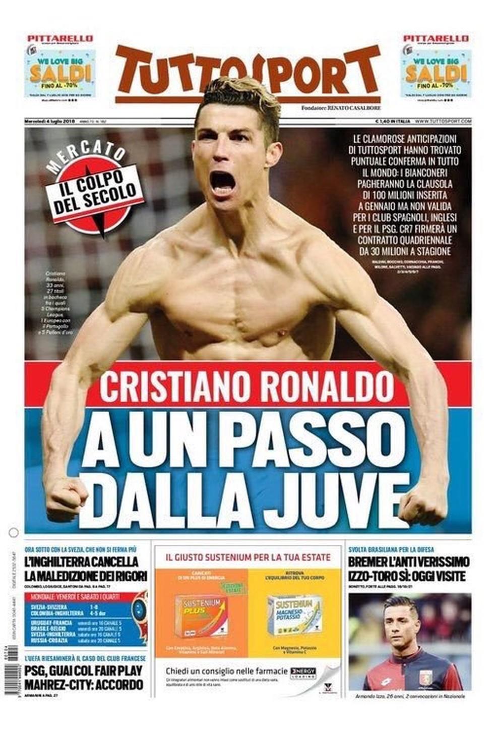Cristiano Ronaldo Tuttosport (Foto: Reprodução)