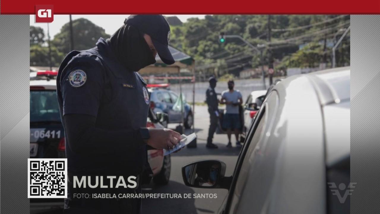 G1 em 1 Minuto - Santos: Mais de 20 pessoas são multadas por se recusarem a usar máscara