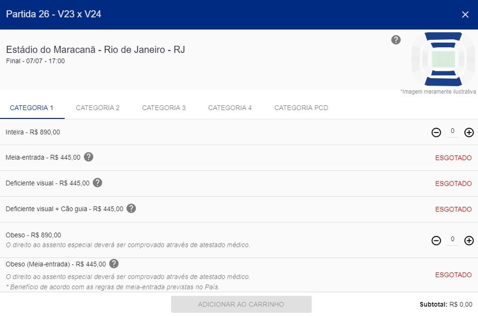Únicos ingressos disponíveis para a decisão custam R$ 890 — Foto: Reprodução/Site oficial da Copa América