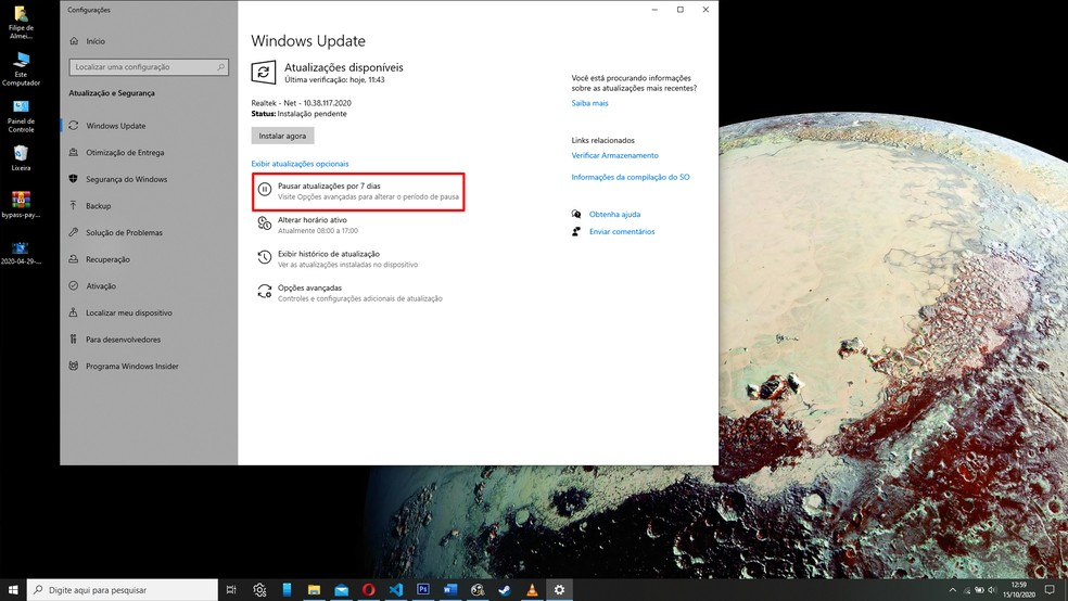 Pause o Windows Update para tentar reativa-lo em seguida — Foto: Reprodução/Filipe Garrett