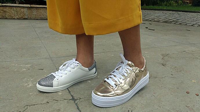 Blogueira deu sugestões de tênis brancos e metalizados (Foto: Raquel Gonzalez/Gshow)