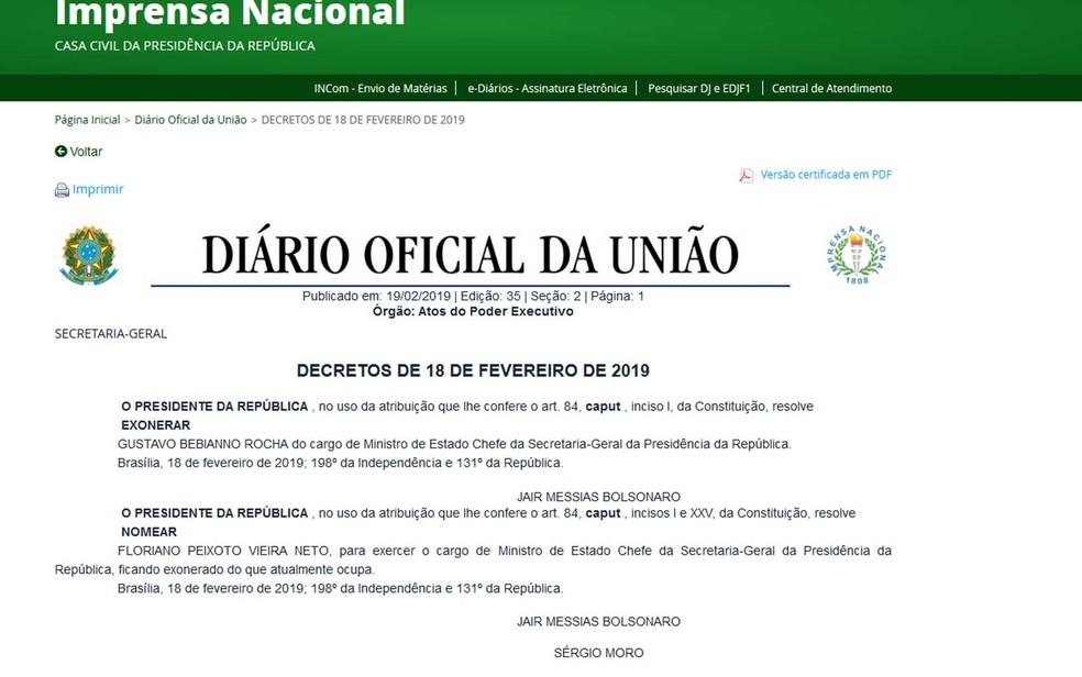 Exoneração de Bebianno e nomeação de Floriano foram publicadas no Diário Oficial da União no início da madrugada desta terça-feira (19)   — Foto: Reprodução / Diário Oficial da União