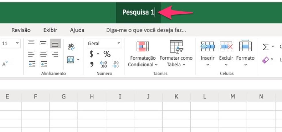 Ação para nomear um documento do Excel que será definido como pesquisa — Foto: Reprodução/Marvin Costa