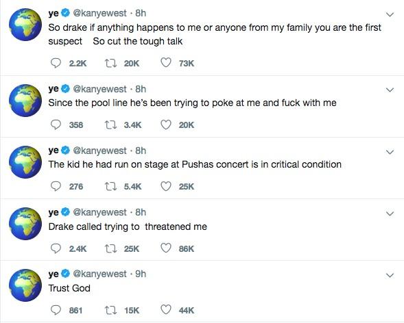 As mensagens nas quais Kanye West diz ter sido ameaçado por Drake (Foto: Twitter)
