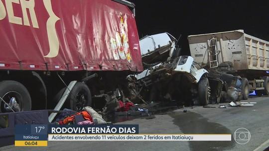 Acidentes com 11 veículos deixa feridos na Rodovia Fernão Dias, em Itatiaiuçu, na Grande BH
