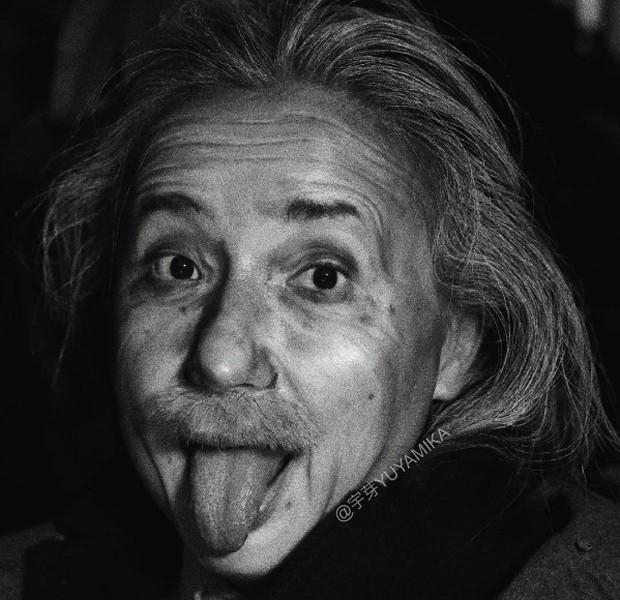 He como Albert Einstein (Foto: Reprodução)