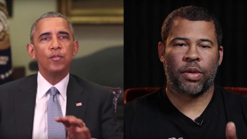 Em vídeo falso, movimentos e falas e de Obama são controlados pelo ator Jordan Peele — Foto: Reprodução/BuzzFeed