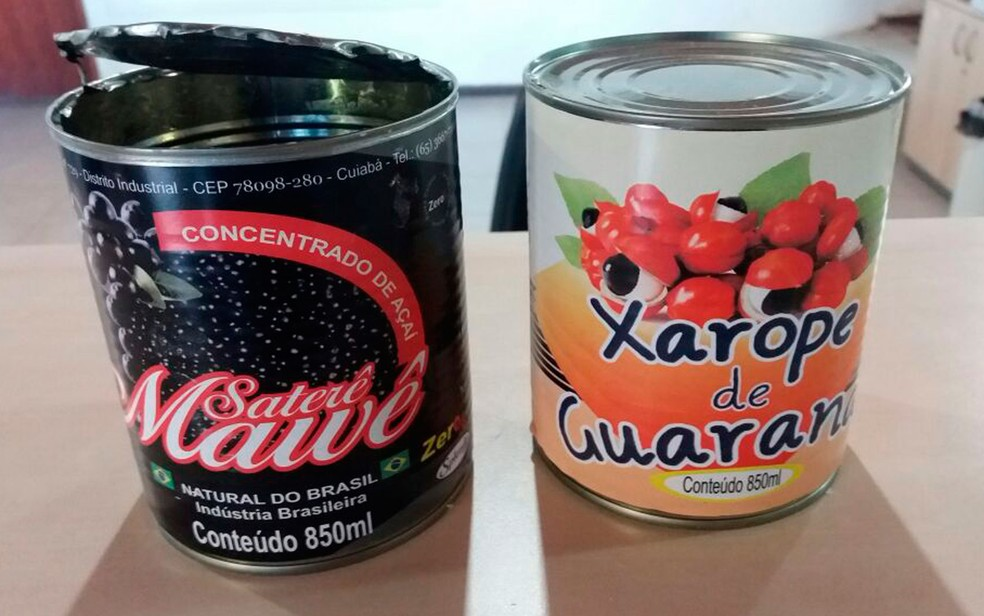 Droga estava guardada em latas de concentrados de açaí (Foto: Divulgação / PRF)