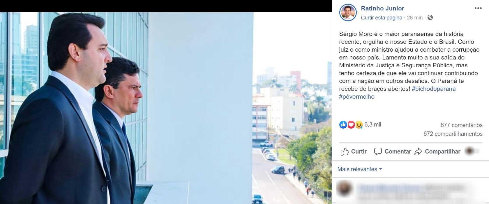 Ratinho Junior lamenta saída de Sergio Moro de Ministério da Justiça e Segurança Pública
