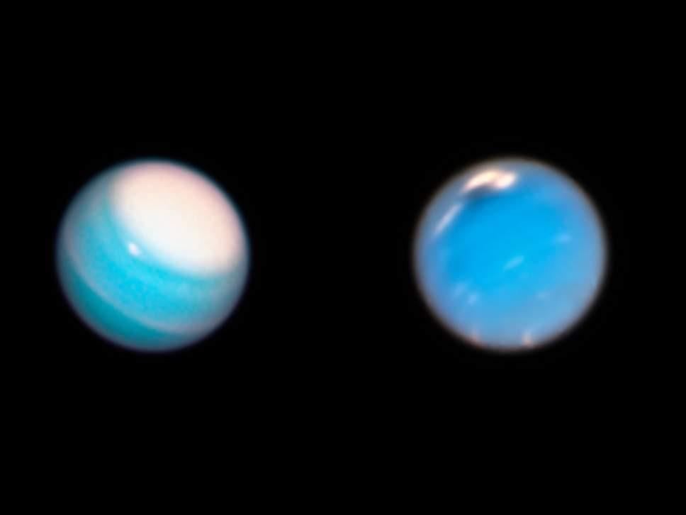Foto do Hubble mostra nuvens em Urano (esquerda) e Netuno (direita) (Foto: NASA, ESA, A. Simon, M.H. Wong, A. Hsu )