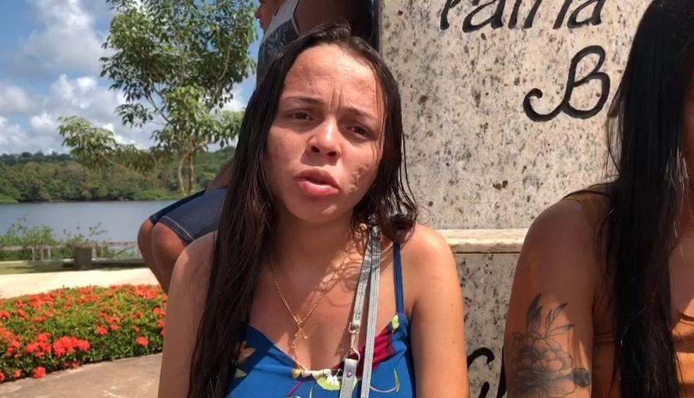 Amanda Oliveira, parente de 4 desaparecidos no naufrágio — Foto: Reprodução