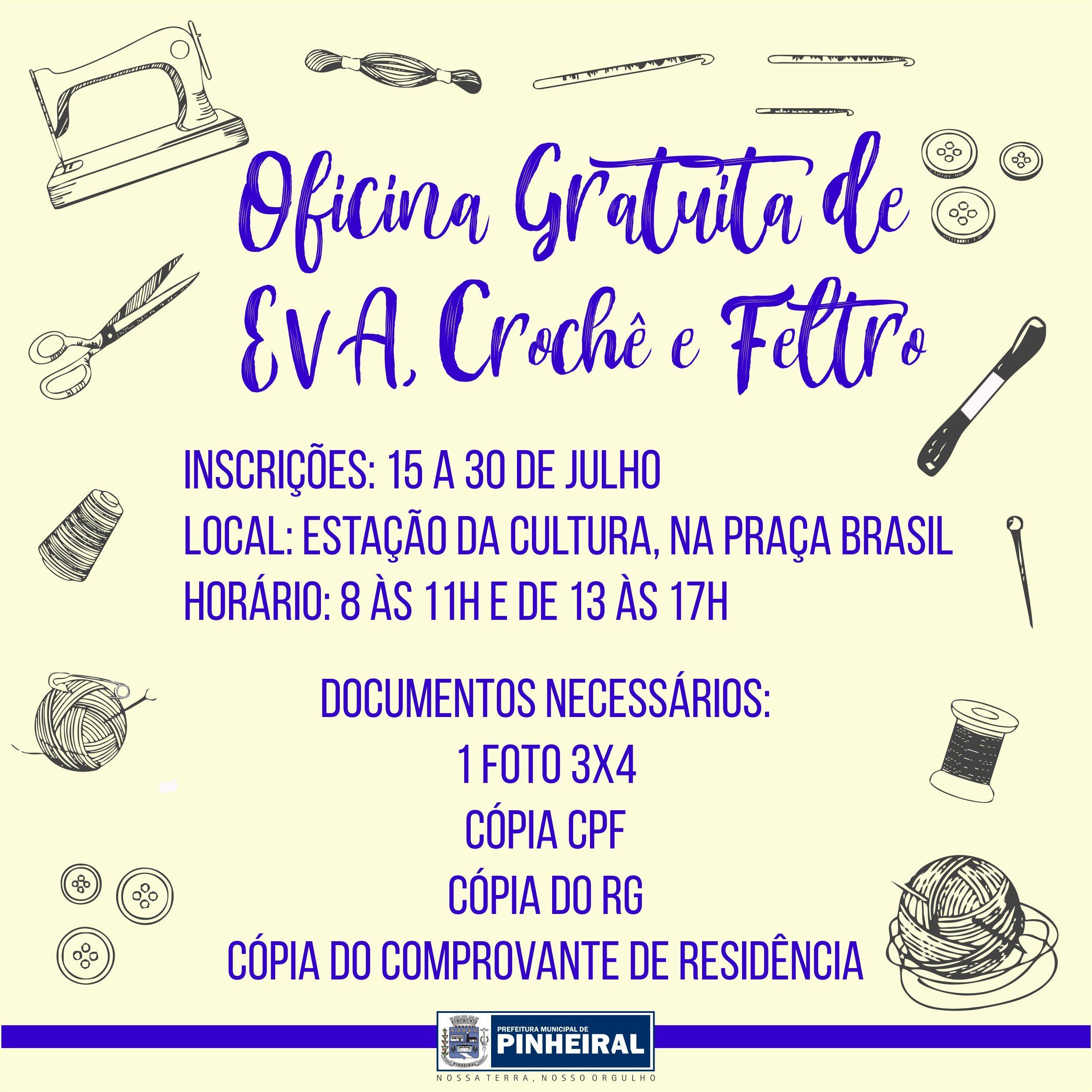 Oficina gratuita de EVA, crochê e feltro é oferecida em Pinheiral - Notícias - Plantão Diário