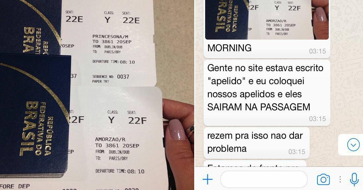 Casal usa 'Princesona' e 'Amorzão' como sobrenomes e consegue embarcar em voo na Europa