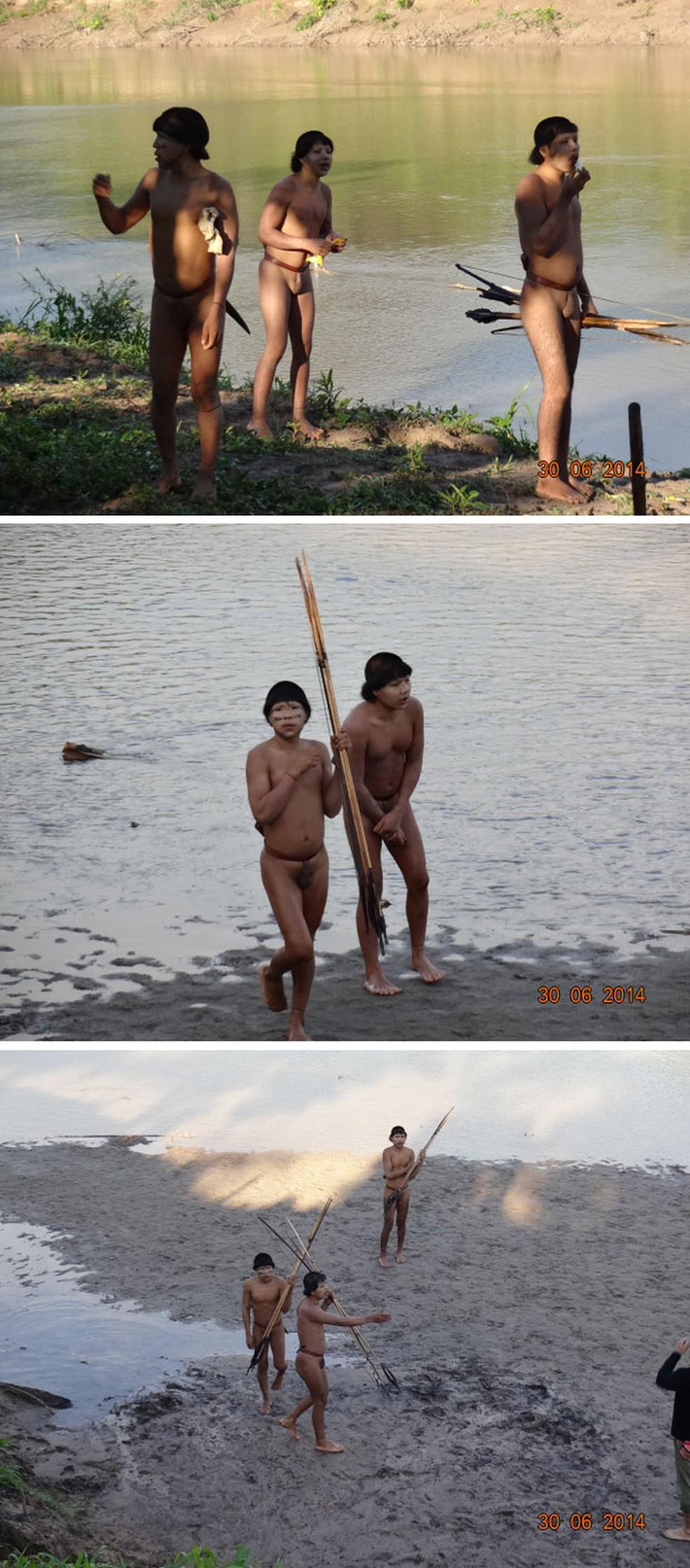 Imagens dos índios isolados divulgadas pela Funai em junho de 2014 (Foto: Divulgação/Funai)