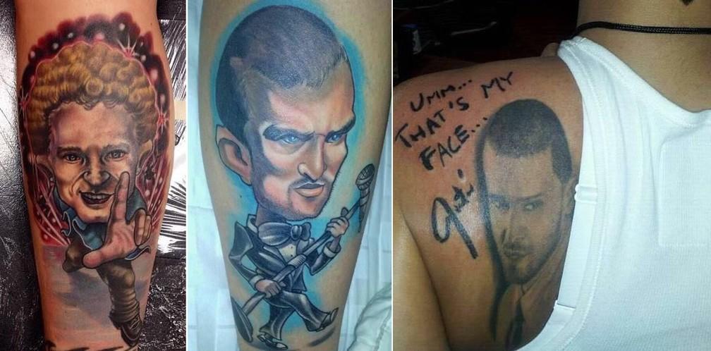 -  Três vezes Justin Timberlake: as duas tatuagens na perna e uma nas costas  com direito a autógrafo  da norte-americana Billie-Jo Cogley, que vem ao R