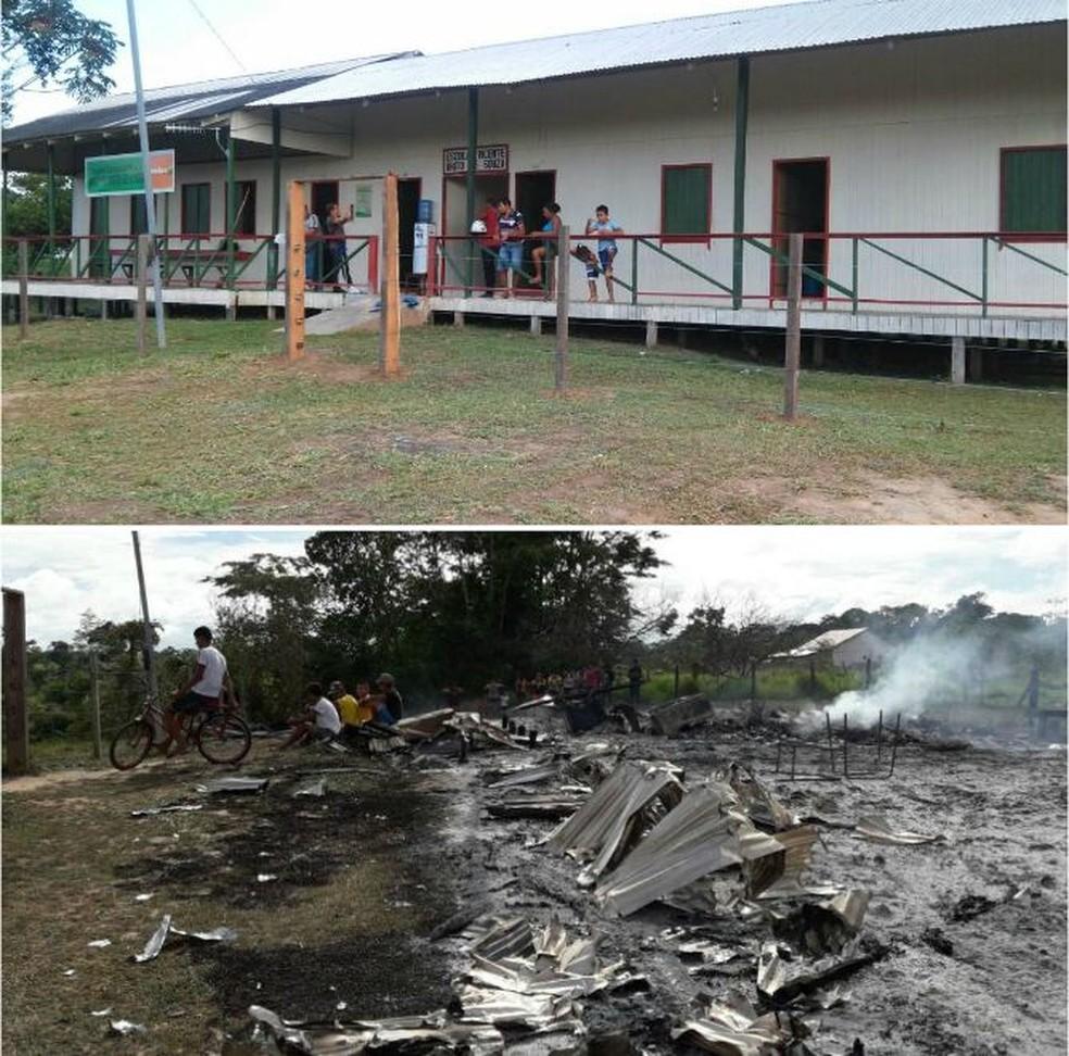 Imagens mostram como a escola era antes de ser incendiada  (Foto: Arquivo pessoal e Divulgação Bombeiros )