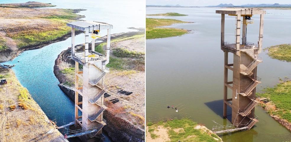 Imagens mostram a Barragem Armando Ribeiro Gonçalves no começo de janeiro e agora, no final de abril  (Foto: Bruno Andrade/BaDroneRN)