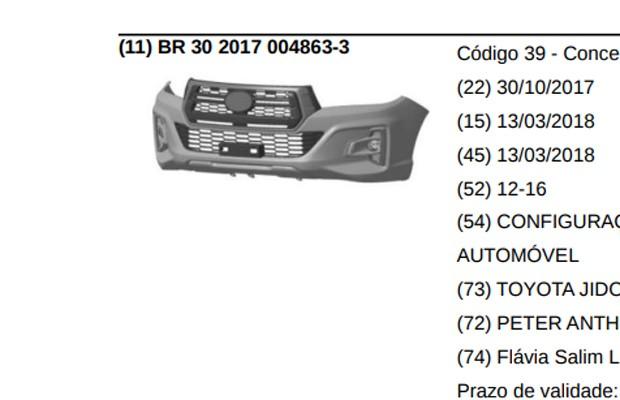 Para-choque e grade integrados foram registrados no INPI (Foto: Reprodução)