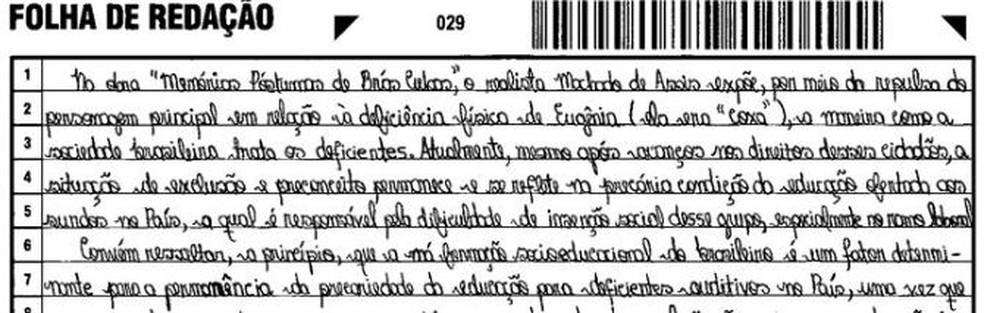 Trecho da redação de Isabella Barros Castelo Branco (Foto: Reprodução)