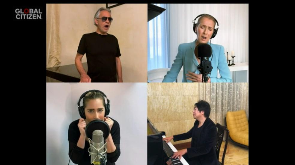 Celine Dion, LangLang, Lady Gaga e  Andrea Bocell - Festival One World — Foto: Reprodução/Globoplay