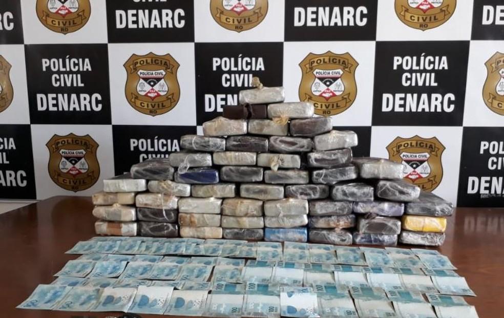 Cerca de 55 quilos de drogas foram apreendidas da BR-421 em RO — Foto: Polícia Civil/Divulgação