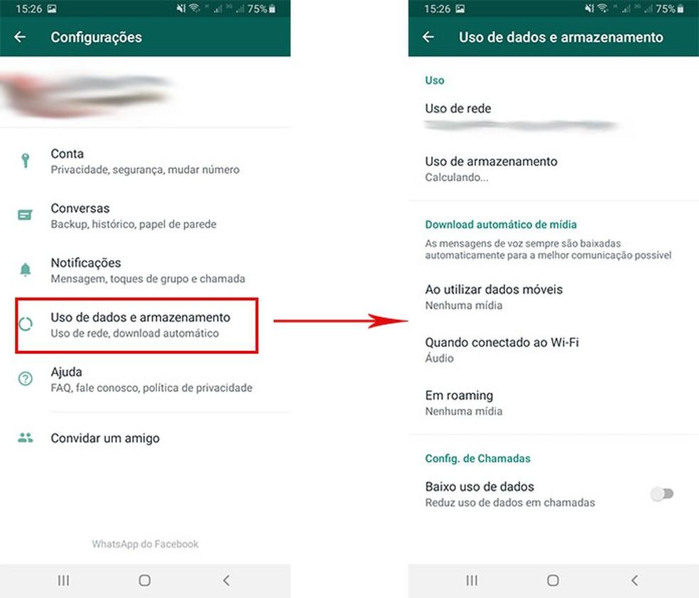 Acesse a ferramenta de armazenamento do WhatsApp — Foto: Reprodução/Fernanda Lutfi