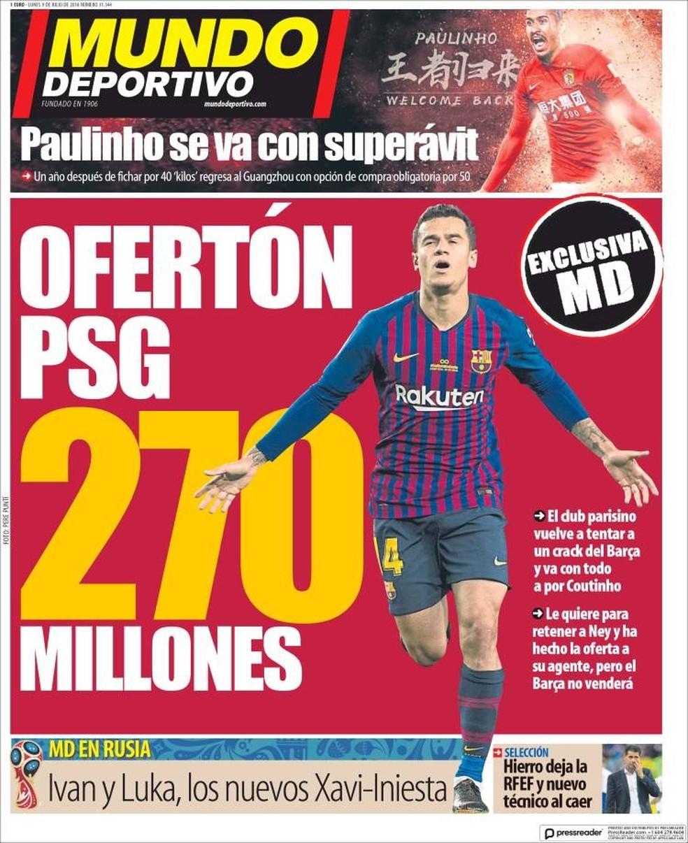 Jornal destaca interesse do PSG em Coutinho (Foto: Reprodução)