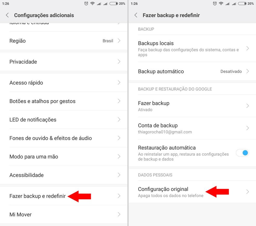 """Entre na opção """"Configuração original"""" do celular Xiaomi — Foto: Reprodução/Thiago Rocha"""