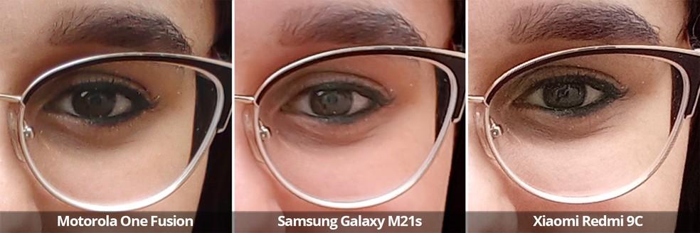 Comparativo das câmeras frontais do Motorola One Fusion, Samsung Galaxy M21s e Xiaomi Redmi 9C sob luz natural em detalhe — Foto: Arquivo pessoal