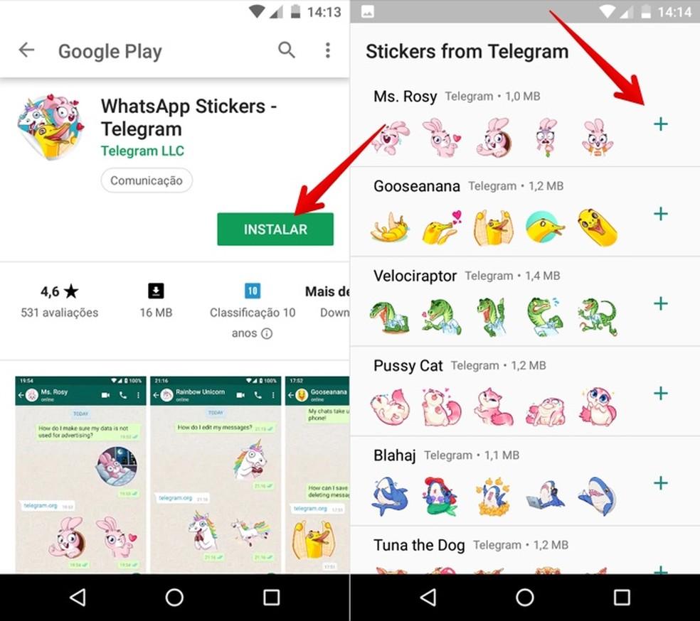 Instale stickers do Telegram no WhatsApp para Android — Foto: Reprodução/Helito Beggiora