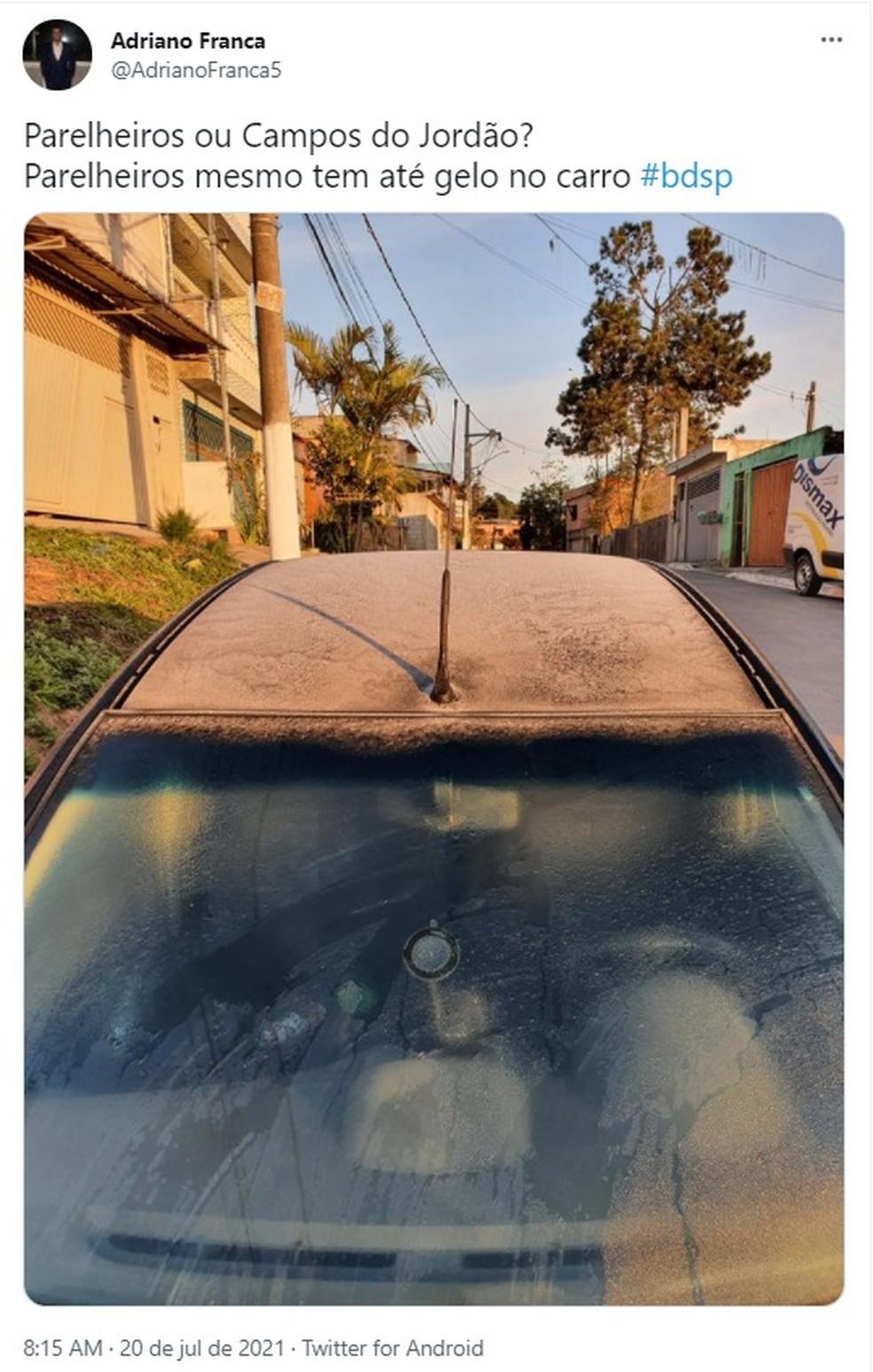 Moradores de Parelheiros, na Zona Sul de SP, registram geada na manhã desta terça-feira (20).  — Foto: Reprodução/Twitter