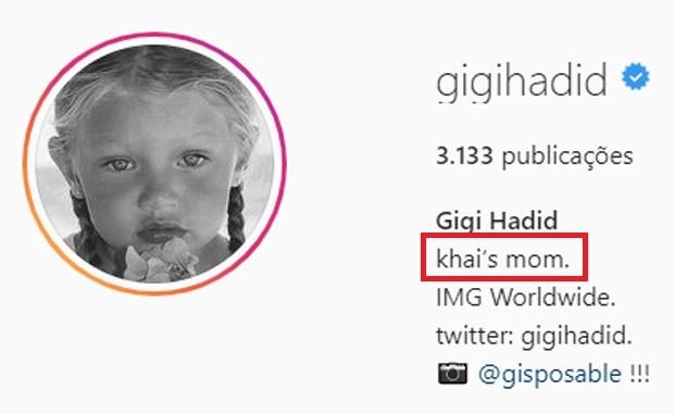 Gigi Hadid divulga o nome da filha: Khai (Foto: Reprodução/Instagram)