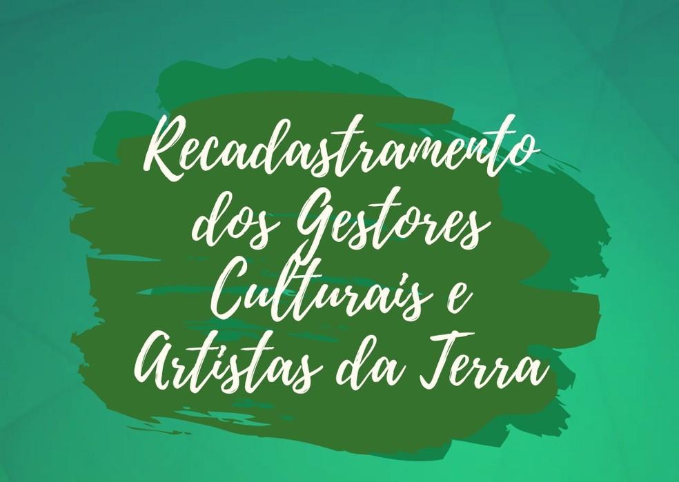 Recadastramento dos artistas e gestores culturais  — Foto: Prefeitura de Toritama/Divulgação