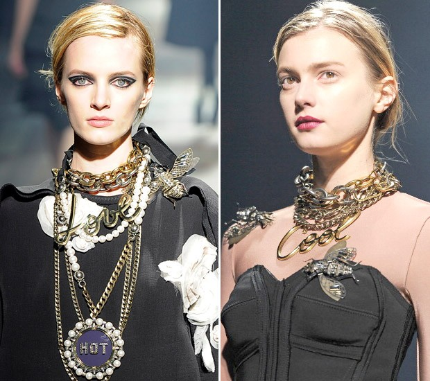 Mix de colares no inverno 2014 da Lanvin (Foto: Getty Images)
