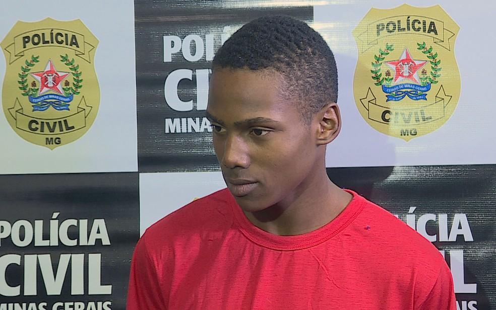 Samuel da Paixão, de 18 anos, foi preso por envolvimento na morte do marido da amante, em Belo Horizonte — Foto: Reprodução/TV Globo