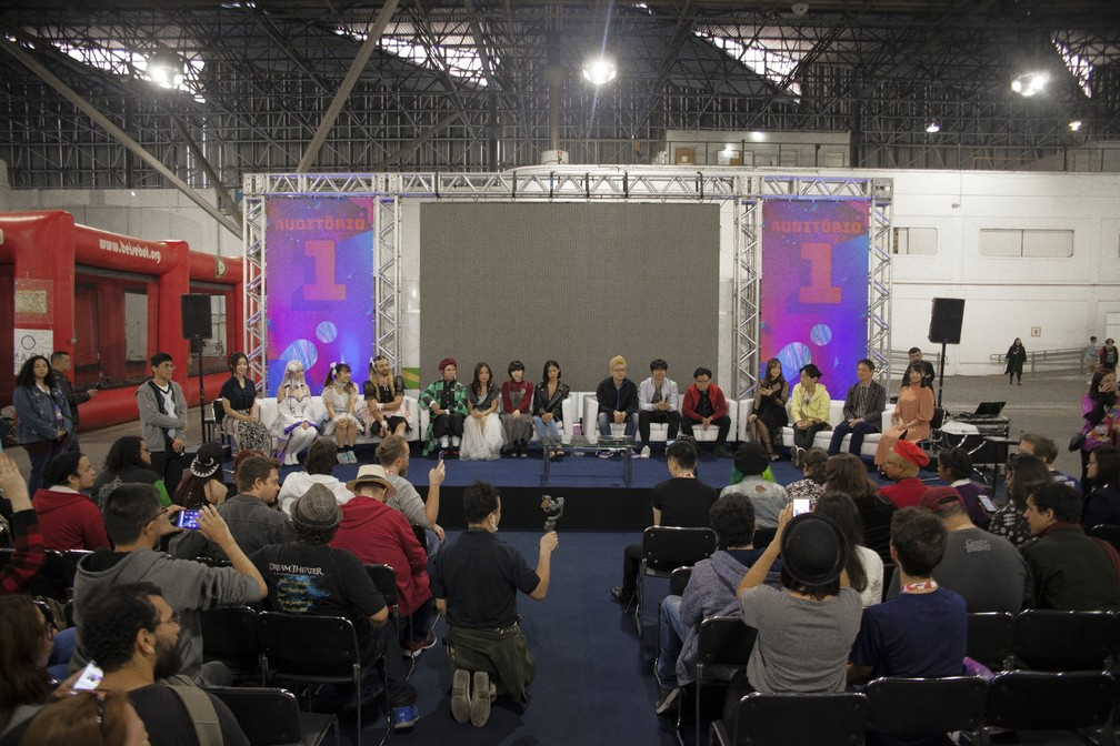 Artistas internacionais participaram da coletiva de imprensa que abriu o Anime Friends 2019, em São Paulo — Foto: Divulgação