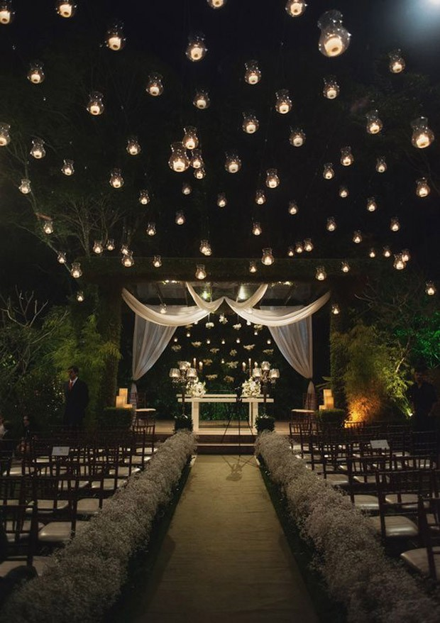 Céu estrelado por luzes em casamento (Foto: Pinterest/Reprodução)