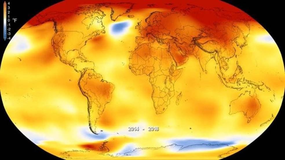Gráfico da Nasa mostra anomalias na temperatura global entre 2014 e 2018 — as temperaturas superiores a tendências de longo prazo são mostradas em vermelho — Foto: Nasa (via BBC)