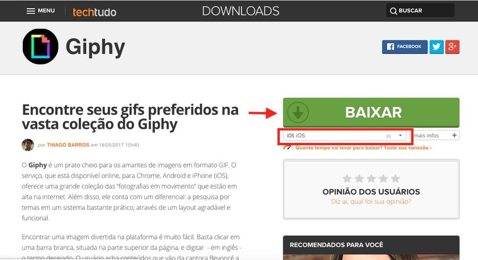 Ação para acessar a página de download da extensão Giphy na App Store do iPhone — Foto: Reprodução/TechTudo