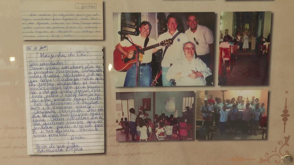 Os restos mortais e objetos pessoais de irmã Adélia estão no memorial ao lado da capela do Colégio Damas, no bairro das Graças — Foto: Reprodução/TV Globo