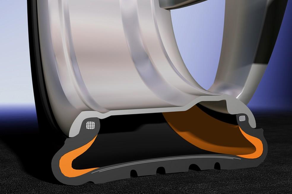 As principais diferenças do run-flat são os reforços nas laterais e bordas do pneu (Foto: Divulgação)
