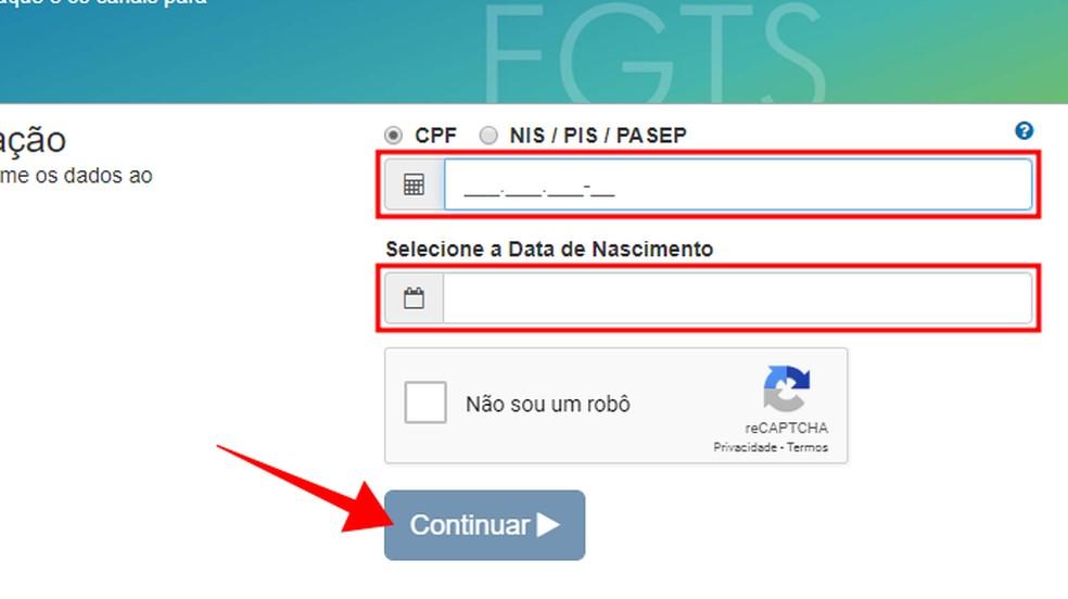 Informe CPF e data de nascimento — Foto: Reprodução/Paulo Alves