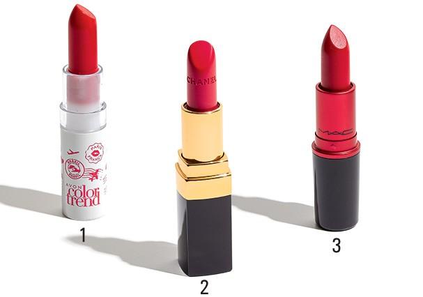 1. Batom Color Trend, em parceria com a banda Rouge, cor Vermelho Paris, R$ 12, Avon; 2. Batom Rouge Coco cremoso, cor Arthur, R$ 225, Chanel; 3. Batom Ruby Woo, R$ 79, MAC. (Foto: Divulgação)