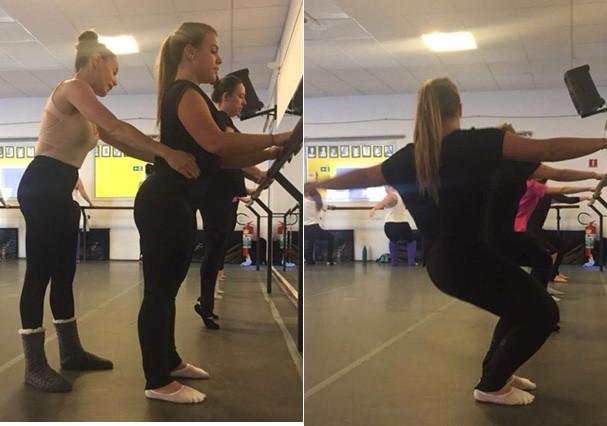 Mari Nogueira testando o método Ballet Blend (Foto: Divulgação)