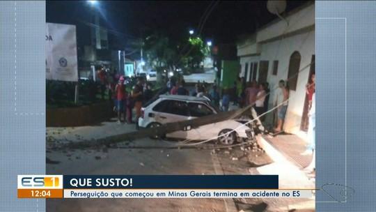 Perseguição policial que começou em MG termina em acidente no ES