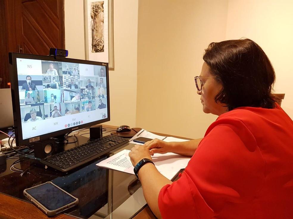 Fátima Bezerra participa de reunião de governadores com o presidente Jair Bolsonaro — Foto: Divulgação