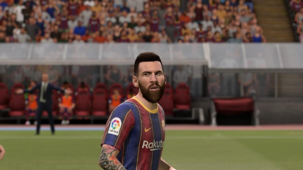 FIFA 21: Messi teve o visual criticado entre os fãs  — Foto: Reprodução/Luiz Gustavo Ribeiro